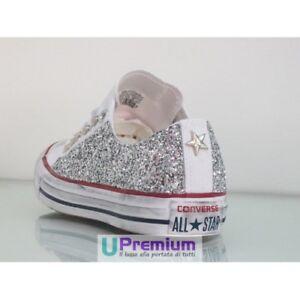 Dettagli su Converse All Star Glitter Basse Bianche Argento [Prodotto Personalizzato] Scarpe