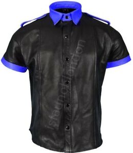 Men-Hot-Genuine-Real-Black-Blue-Sheep-LEATHER-Casual-Uniform-Shirt-BLUF-Gay