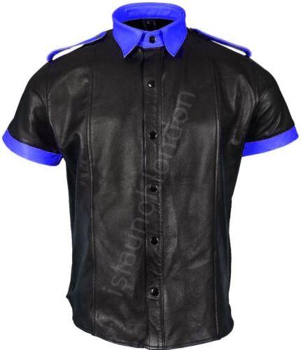 in per Bluf reale Camicia Gay da uomo casual lana vera pelle in uomo nera vera blu fxt7qHxw