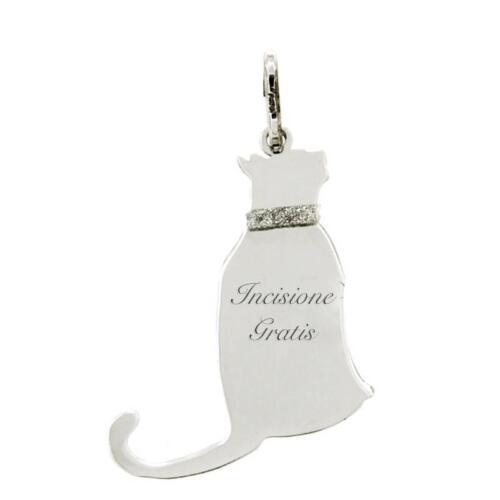 Ciondolo gatto seduto mm 27x21 in argento 925 rodiato -personalizzabile