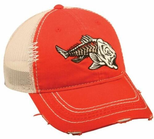 Outdoor Cap Adjustable Closure Redfish Bones Mesh Back Cap Red//Beige