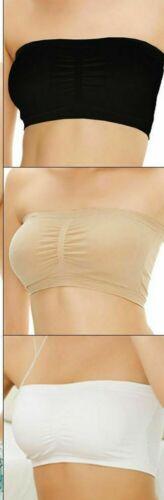 New Womens Plain Boob Tube Strapless Bandeau Stretch Vest Bra Crop Top S to XXXL