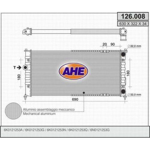 Wasserkühler Kühler SEAT Cordoba I//II 1.6-1.8-2.0-1.9D AHE  126.008
