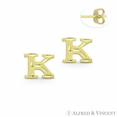 """Initial Letter /""""P/"""" Petite Baby Stud 14k Yellow Gold Stamping Push-Back Earrings"""