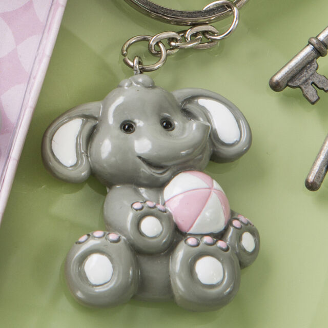25-144 Adorable Baby Pink Elephant Key Chain Baby Girl Shower Birthday Favors