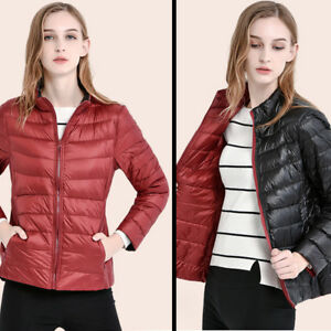 Womens-90-Duck-Down-Reversible-Puffer-Jacket-Ultra-Light-Slim-Fit-Warm-Coat-New