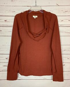 Umgee-Boutique-Women-039-s-M-Medium-Rust-Waffle-Thermal-Cowl-Neck-Fall-Top-Shirt