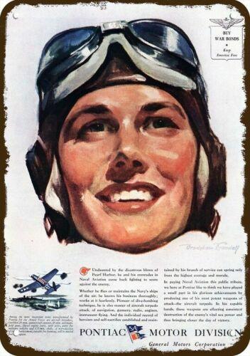 NAVY PILOT A 1944 PONTIAC TORPEDO Vintage Look DECORATIVE METAL SIGN WWII U.S