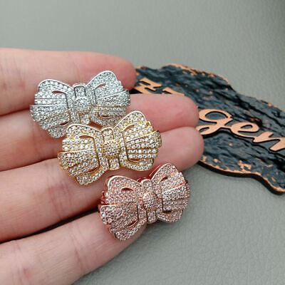 40x42mm 18k gold platedCubic Zirconia micro pave charm connector for necklace