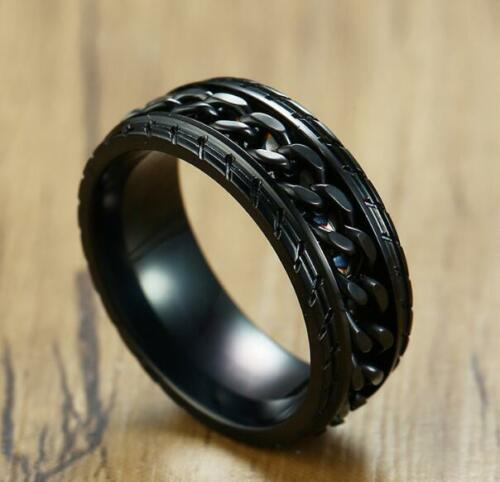 Personnalité homme noir en acier inoxydable bijoux Cool Chaîne Ring 7-12#