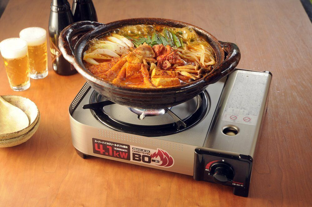 Iwatani Cassette Feu BO EX Hairline CB-AH-41 Gas Cooking Stove from JAPAN New