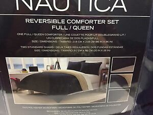 NEW-Nautica-3-Pc-Solid-Navy-Blue-Tan-Reversible-Full-Queen-Comforter-amp-Shams