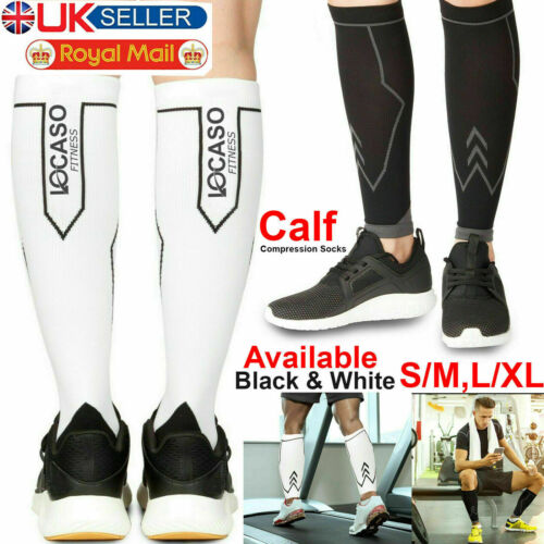 Compression Calf Sleeves Pair Shin Splints Running Support Guards Socks Cycling.