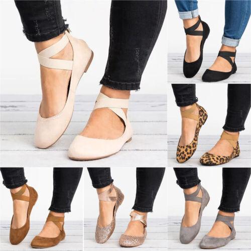 Women Ballet Ballerina Dance Ankle Shoes Strap Slip On Flat Ladies Casual Sandal