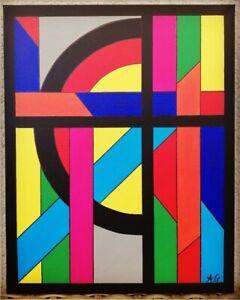 Tableau-abstrait-geometrique-contemporain-40-x-50-cm-Original-signe-A-G