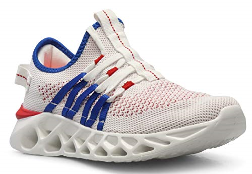 CROSSMONT Lightweight Athletic Mens Wave Casual Fashion Sneakers shoes White Red