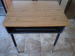 School Student Desk Adjustable Metal Legs Wood Top Open