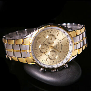 Luxury-Men-039-s-Fashion-Date-Gold-Dial-Stainless-Steel-Analog-Quartz-Wrist-Watches