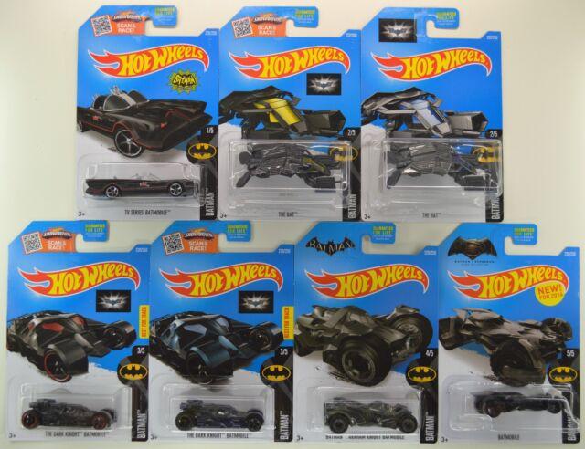 2016 Hot Wheels: BATMAN BATMOBILE - Complete Set of 7 Cars - Superman TV & MORE!