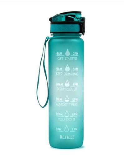 32oz//1L Gallon Sports Leakproof Motivational Time Marker Water Bottle BPA Free
