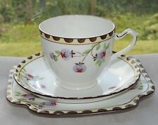 A B Jones Grafton China Art Deco Hand Painted Fruits Trio Cup Saucer Plate