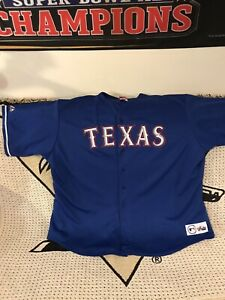 online store ae344 c2bbb Details about Texas Rangers Authentic Majestic Throwback Jersey Size 5XL  Blue