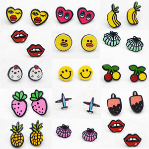 Cute-Sweet-Cartoon-Fruit-Animal-Emoji-Acrylic-Women-Girl-Ear-Studs-Earrings-Gift