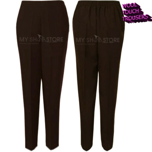 LADIES WOMENS TROUSERS WOOL TOUCH HALF ELASTICATED WAIST POCKET PANTS PLUS SIZES