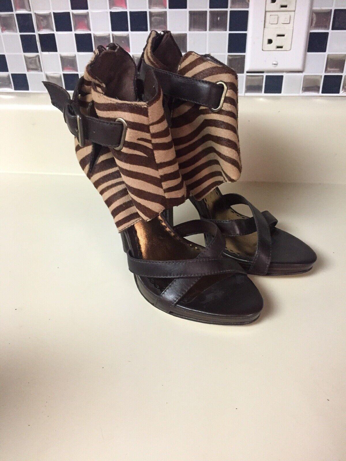 LL Bebe Platform Stilettos Sandals Heels Sz 6 Pony Hair Zebra Brown Leather