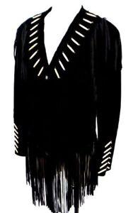 zwart Wear Western Suede Womens Bead stijl Jacket Fringe 80's leer Cowboy bygYf76