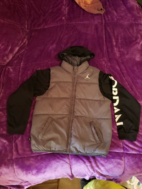 Puma Boy/'s 2fer Puffer Vest Hoodie Jacket 91198132FME Black Gray Youth M L XL