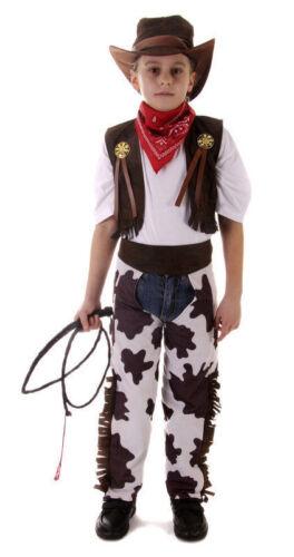 CHILD COWBOY COSTUME COW BOYS FANCY DRESS HALLOWEEN WESTERN MEDIUM 7-9 LGE 10-12