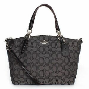 Coach F36625 Small Kelsey In Signature Black Smoke Satchel