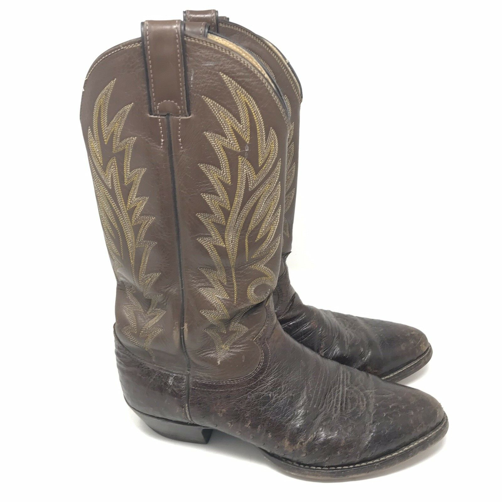 Justin Boots Size 9 D Mens Brown Full Quill Ostrich Leather Cowboy Western