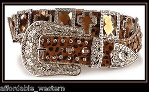 Nocona Cuero ~ Ámbar Cristal Cruz Cinturón ~ Leopardo Estampado - Hebilla Set