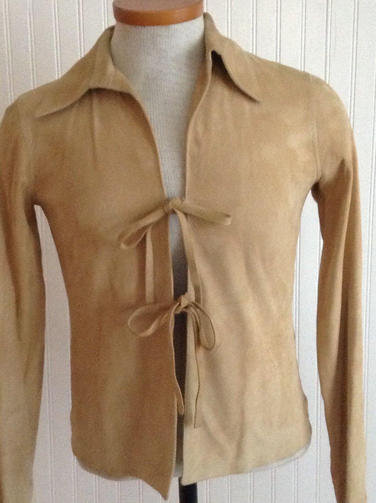 Spazio von Alma , Lammleder Tie Front Hemd, Hergestellt in Italien, Gr.42   Us 9