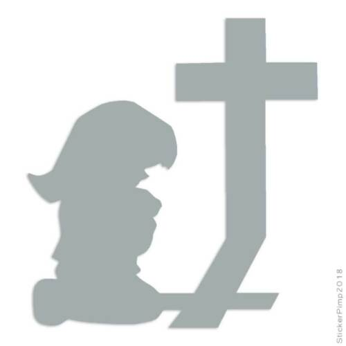 Size #2320 Girl Kneeling Cross Prayer Decal Sticker Choose Color