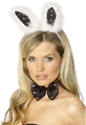 Donna Sexy Play Bunny Set In Nero Con Bianco Fur Stim E Diamante-mostra Il Titolo Originale Ampie Varietà