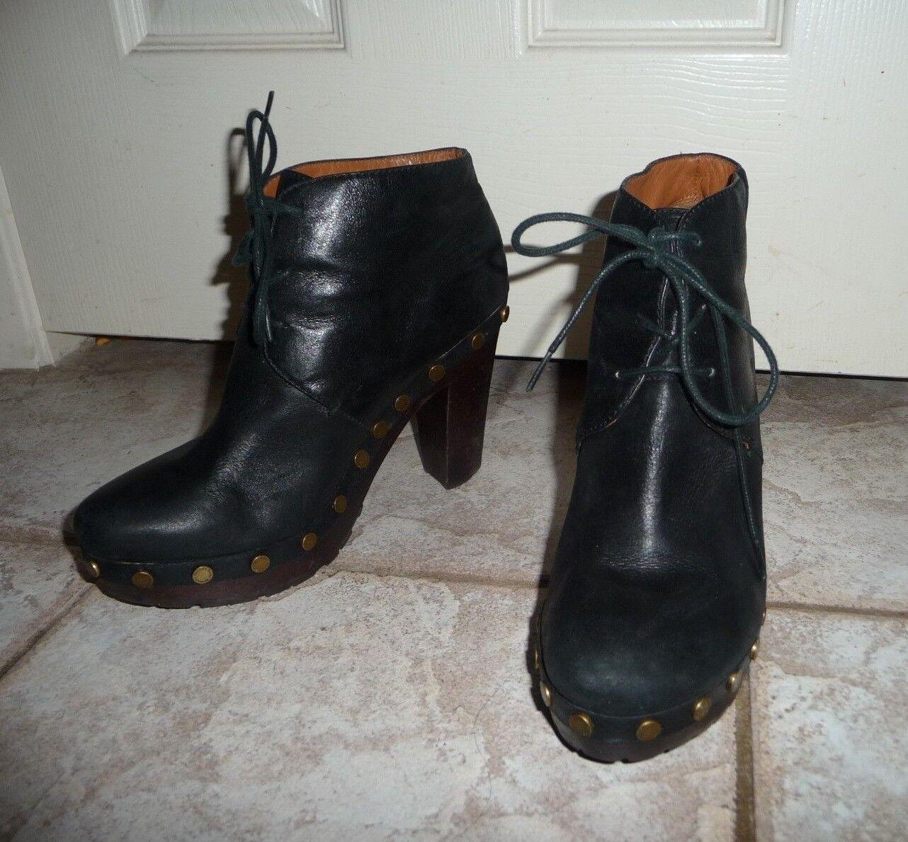 Marc Jacobs Black Lace Up Clogs US Size 7.5 Stacked Heel, 4″ Platform 1