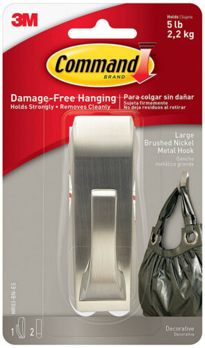 3M Command Large Modern Reflections Brushed Nickel Metal Hook Holds 5lbs 2.2kg