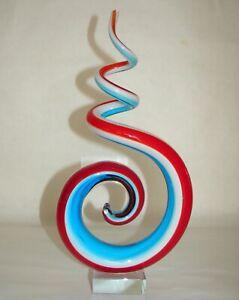 "Art Glass Hand Blown Red Blue White Swirl Sculpture on Clear Block Base 12 1/4"""