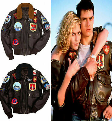 Men/'s Tom Cruise Pete Maverick TOP GUN A2 Fighter Bomber in Cuoio Giacca in Pelle