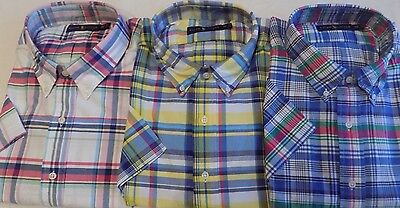 NWT Ralph Lauren PINK, BLUE, or YELLOW Plaid Oxford Style SS Shirt Big and Tall