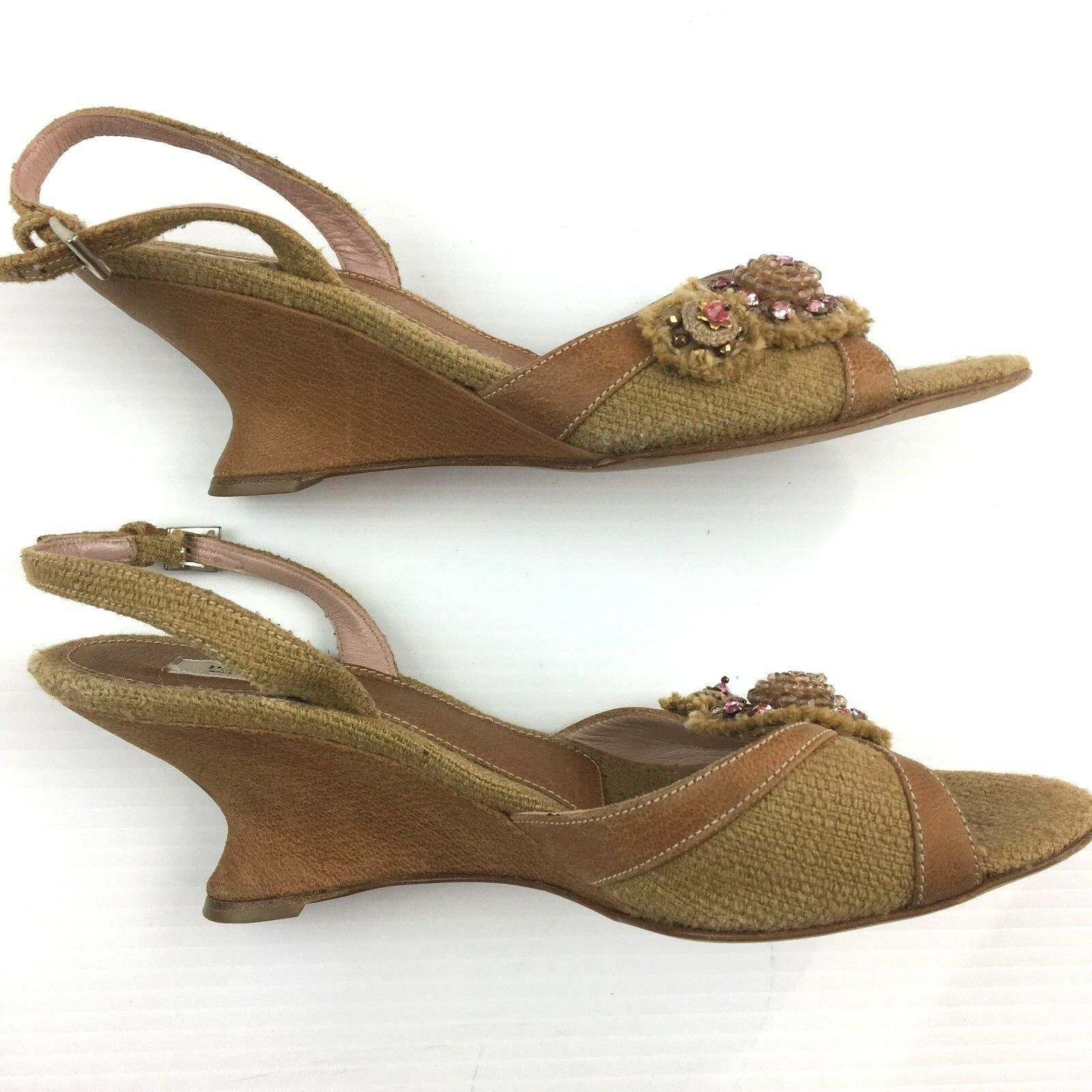 Prada Sandals Beige Canvas Leather Wedge Heel Peep Toes Slingbacks Slingbacks Slingbacks EU37.5 US 7 df0bfe