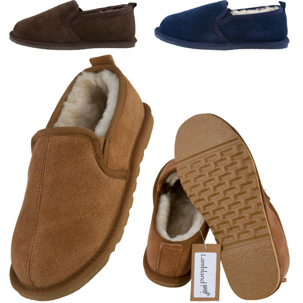 Mens High Quality Genuine Sheepskin Lined Slipper Boots With Hard Wearing Sole