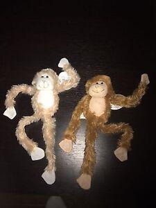 2 Two 18 Plush Hanging Monkey Stuffed Animal Monkeys Soft Hands