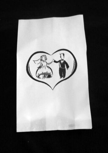 50 Boda Novia Novio bailando vals impresión de prueba Grasa Blanca Bolsa De Papel Pastel