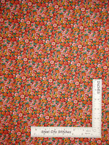 Mary-Engelbreit-Flowers-Pink-Orange-Cotton-Fabric-QT-Mary-039-s-Journey-By-The-Yard