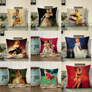 Linen-Car-Pillowcase-painting-Decor-Cover-Sofa-Girl-Sexy-Home-Throw-oil-Cushion