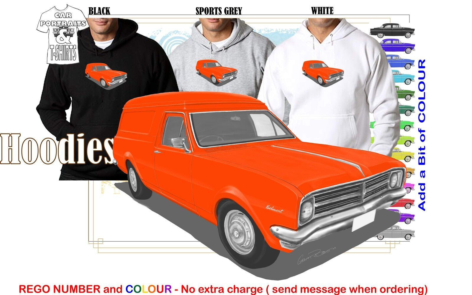 68-69 HK HOLDEN VAN HOODIE ILLUSTRATED CLASSIC RETRO MUSCLE SPORTS CAR